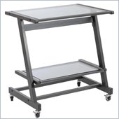 Eurostyle Zeus Computer Cart in Graphite Black/Smoked Glass