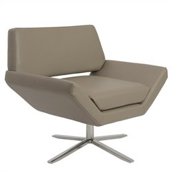 Eurostyle Carlotta Lounge Chair in Taupe and Stainless Steel