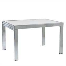 Eurostyle Duo Rectangular Extension Table in Chrome and Pure White Glass
