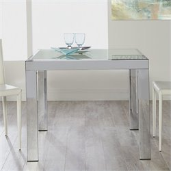 Eurostyle Duo Square/Rectangular Extension Dining Table in Chrome and Frosted Glass