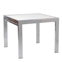 Eurostyle Duo Square/Rectangular Extension Table in Chrome and Pure White Glass