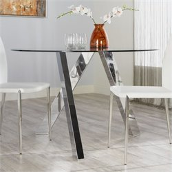 Eurostyle Fridrika Round Dining Table in Clear Glass and Steel