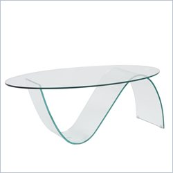 Eurostyle Pandora Oval Glass Coffee Table in Clear