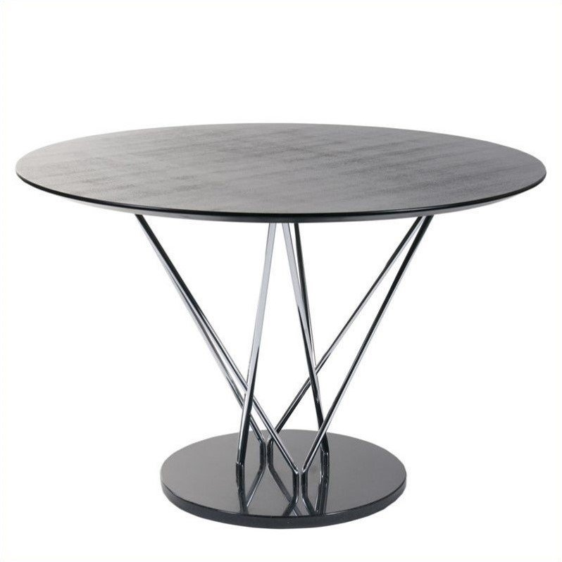 Eurostyle Stacy Round Dining Table in Black and Ebony