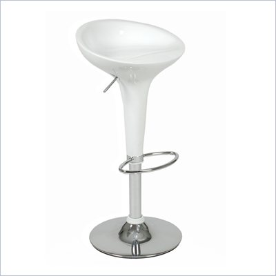 Eurostyle Ashby Adjustable Height Bar or Counter Stool in White/Chrome