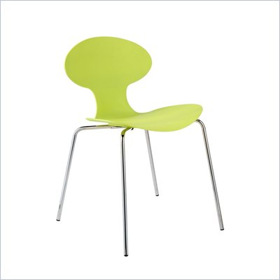Eurostyle Beatrix Modern Green Dining Side Chair with Chrome Legs