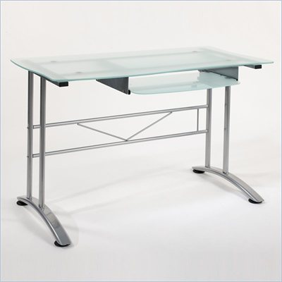 Eurostyle Boss Glass Computer Desk in Aluminum/Frosted Glass