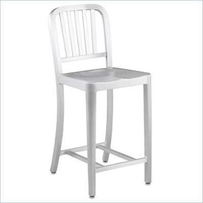 Eurostyle Camy Matte Aluminum Counter Height Stool