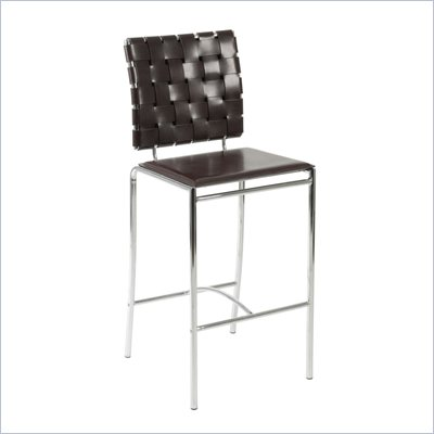 Eurostyle Carlsen Counter Height Stool in Woven Brown Leather