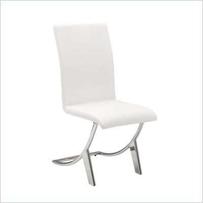 Eurostyle Cordelia Side Chair in White/Chrome