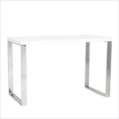 Eurostyle Dillon Desk in White Lacquer/Chrome