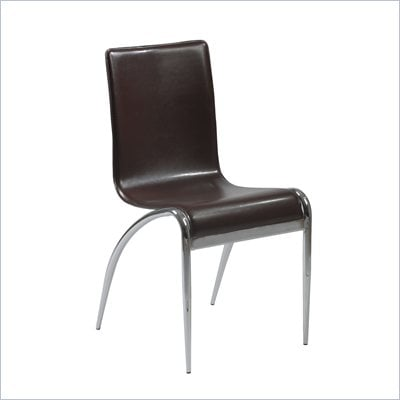 Eurostyle Gloria Leather Dining Side Chair in Brown and Chrome