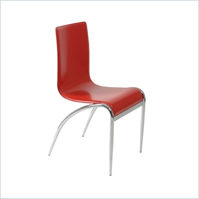 Eurostyle Gloria Leather Dining Side Chair in Red and Chrome