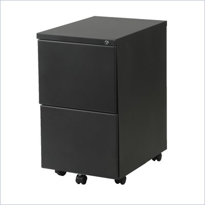 Eurostyle Gordon 2F 2 Drawer Mobile Metal Filing Cabinet in Graphite Black