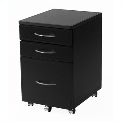 Eurostyle Ledah Leather Hi 3 Drawer Mobile Lateral Wood File Cabinet