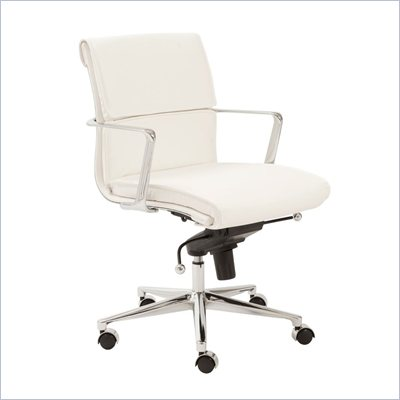 Eurostyle Leif Low Back Office Chair in White/Chrome