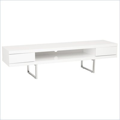 Eurostyle Miranda Media Stand in White Lacquer/Chrome
