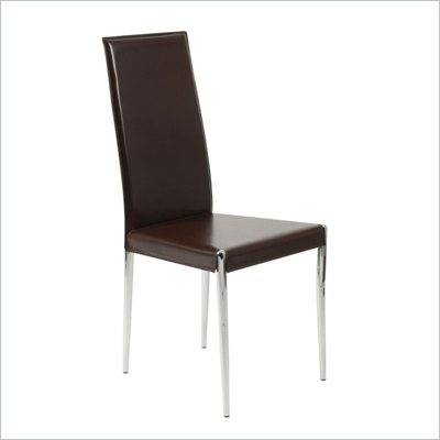 Eurostyle Raffi Brown Leather Dining Side Chair in Brown and Chrome