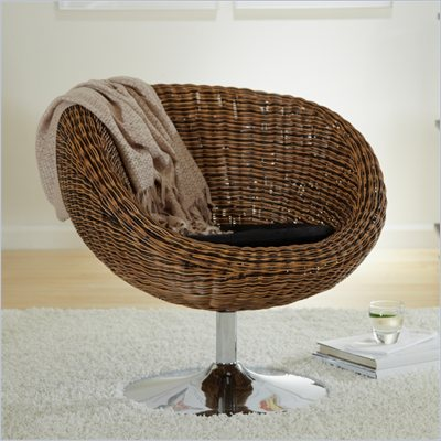 Eurostyle Olivia Brown Rattan Swivel Chair