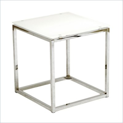 Eurostyle Sandor Side Table in Pure White Glass/Chrome