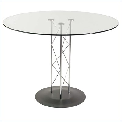 Eurostyle Taby 48 Inch Casual Dining Table with Glass Top