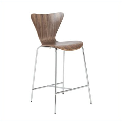 Eurostyle Tendy C Counter Chair in Walnut/Chrome