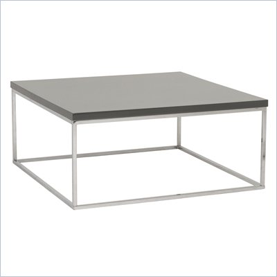 Eurostyle Teresa Square Coffee Table in Gray/Chrome