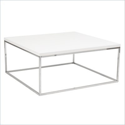 Eurostyle Teresa Square Coffee Table in White/Chrome