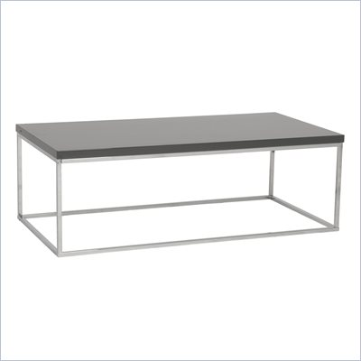 Eurostyle Teresa Rectangular Coffee Table in Gray/Chrome