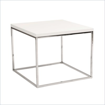 Eurostyle Teresa Side Table in White/Chrome