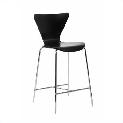 Eurostyle Tessa Black Finish Wooden Counter Stool