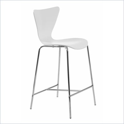 Eurostyle Tessa White Finish Wooden Counter Stool