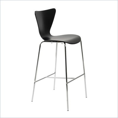 Eurostyle Tessa Black Finish Wooden Bar Stool