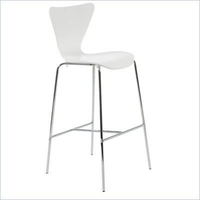 Eurostyle Tessa White Finish Wooden Bar Stool