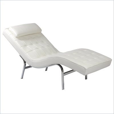 Eurostyle Vela 1 White Leather Seat &amp; Chrome Frame Lounge Chair