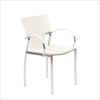 Eurostyle Vinnie Arm Chair in White Leather/Chrome