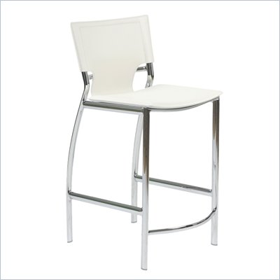 Eurostyle Vinnie-C Counter Chair in White Leather/Chrome