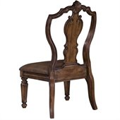 Pulaski San Mateo Carved Back Leather Side Chair in San Mateo Dark Wood Finish