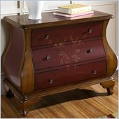 Pulaski 3 Drawer Bombe Accent Chest in Red and Brown Finish