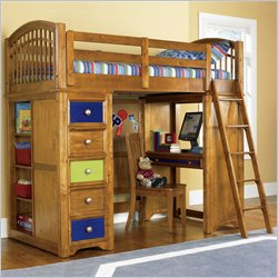 Pulaski Build-A-Bear Bearrific Kids Wood Loft Bunk Bed in Cocoa Finish