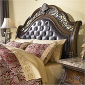 Pulaski Birkhaven Tufted Leather Headboard in Lush Mocha Finish