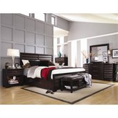 Pulaski Tangerine 330 Panel Storage Bed 6 Piece Bedroom Set in Sable