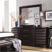 Pulaski Tangerine 330 9 Drawer Triple Dresser and Mirror Set in Sable