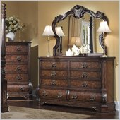 Pulaski Wellington Manor Double Dresser and Mirror Set in Cherry
