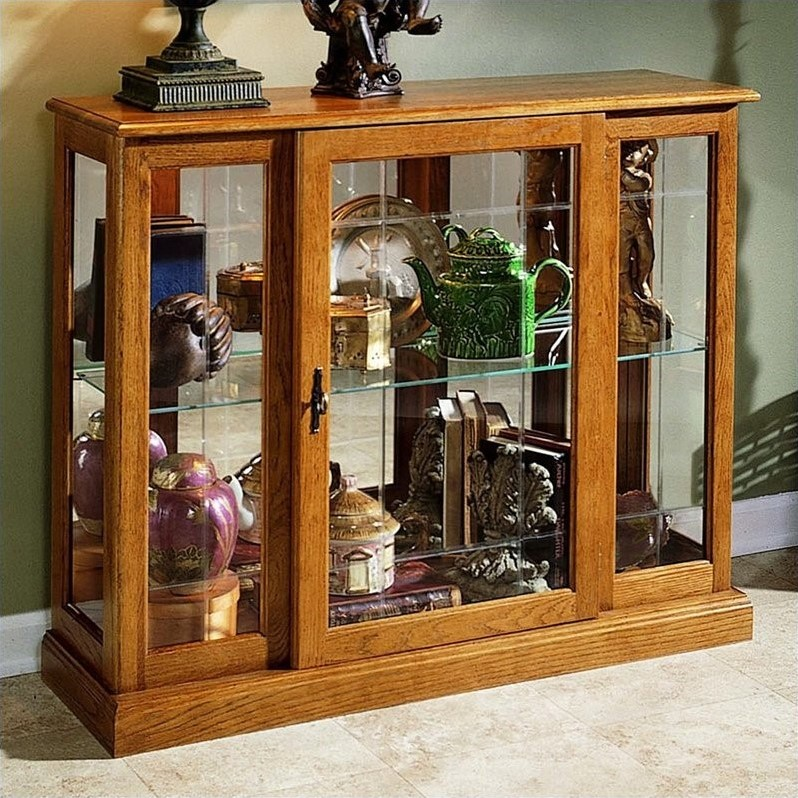 Golden oak iii console curio display cabinet 6715 - Sofa table with cabinets ...