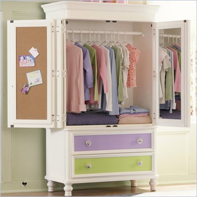 Pulaski Build-A-Bear Pawsitively Yours Kids TV/Wardrobe Armoire in Vanilla