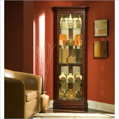 Pulaski Victorian Cherry 72 Inch Tall Corner Curio Cabinet