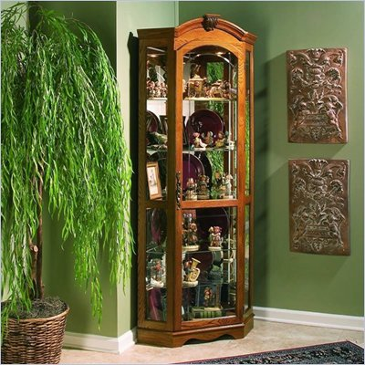 Pulaski Estate Oak Corner Curio Cabinet