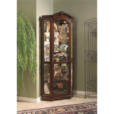 Pulaski Medallion Cherry Corner Curio Cabinet