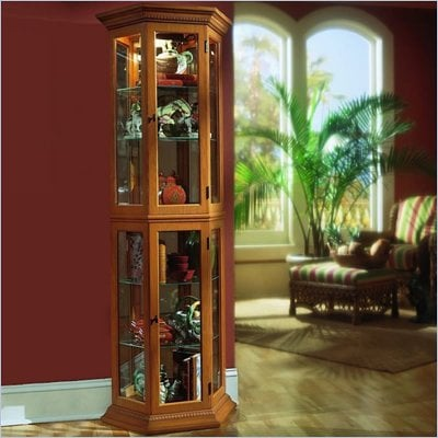 Pulaski English Oak II Bay Window Curio Cabinet